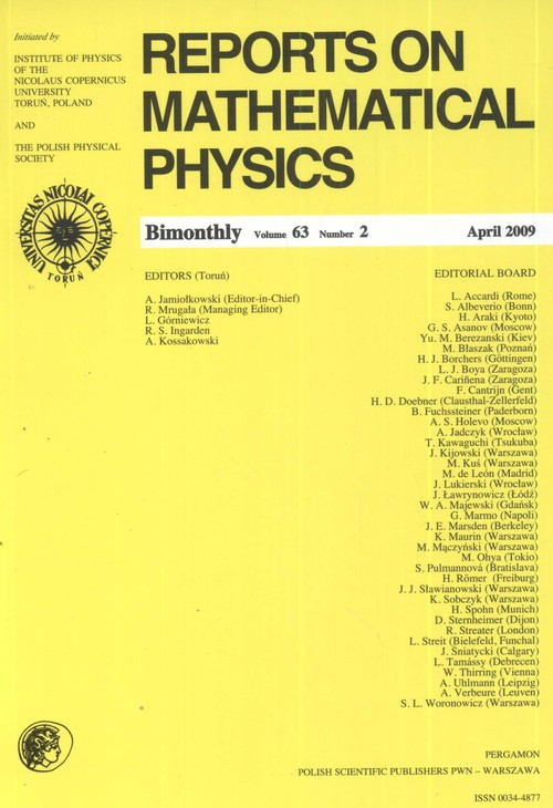 Reports on Mathematical Physics 63/2 2009 - brak