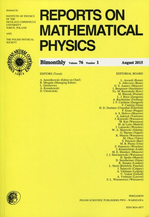 Reports on Mathematical Physics 76/1 2015 Pergamon - brak