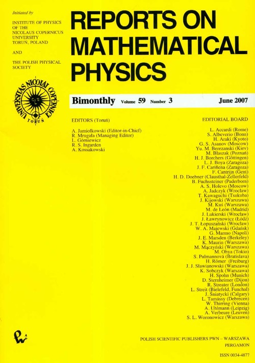 Reports on Mathematical Physics 59/3 - brak