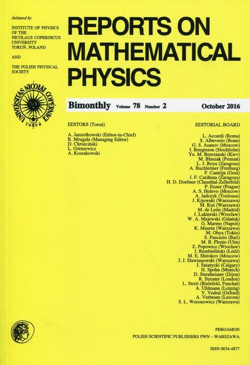 Reports on Mathematical Physics 78/2 2016 Pergamon - brak