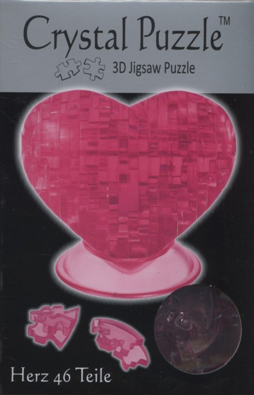 Serce czerwone Crystal Puzzle 3D