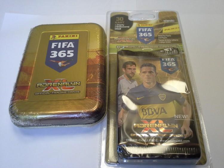 27eb50e67 [Zestaw] Adrenalyn XL Puszka kolekcjonera mini FIFA 365 + 63 karty  piłkarskie (w